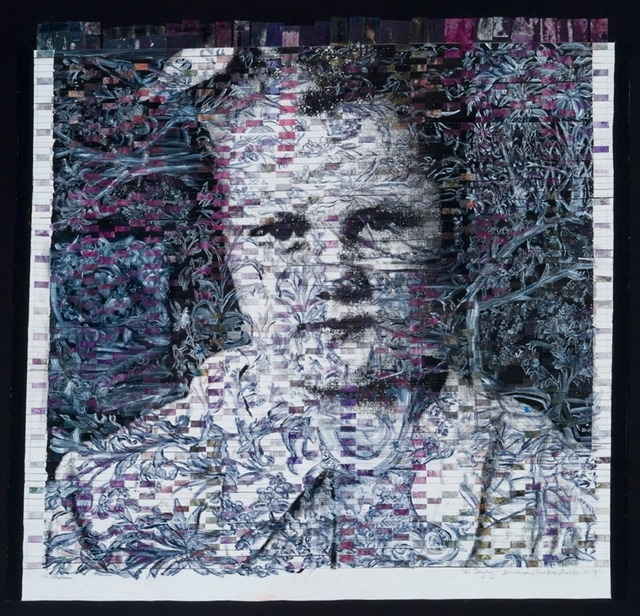 "Gail Skudera,  The Changling , 2011, Woven mixed media, 41"" x 40"", $4000."