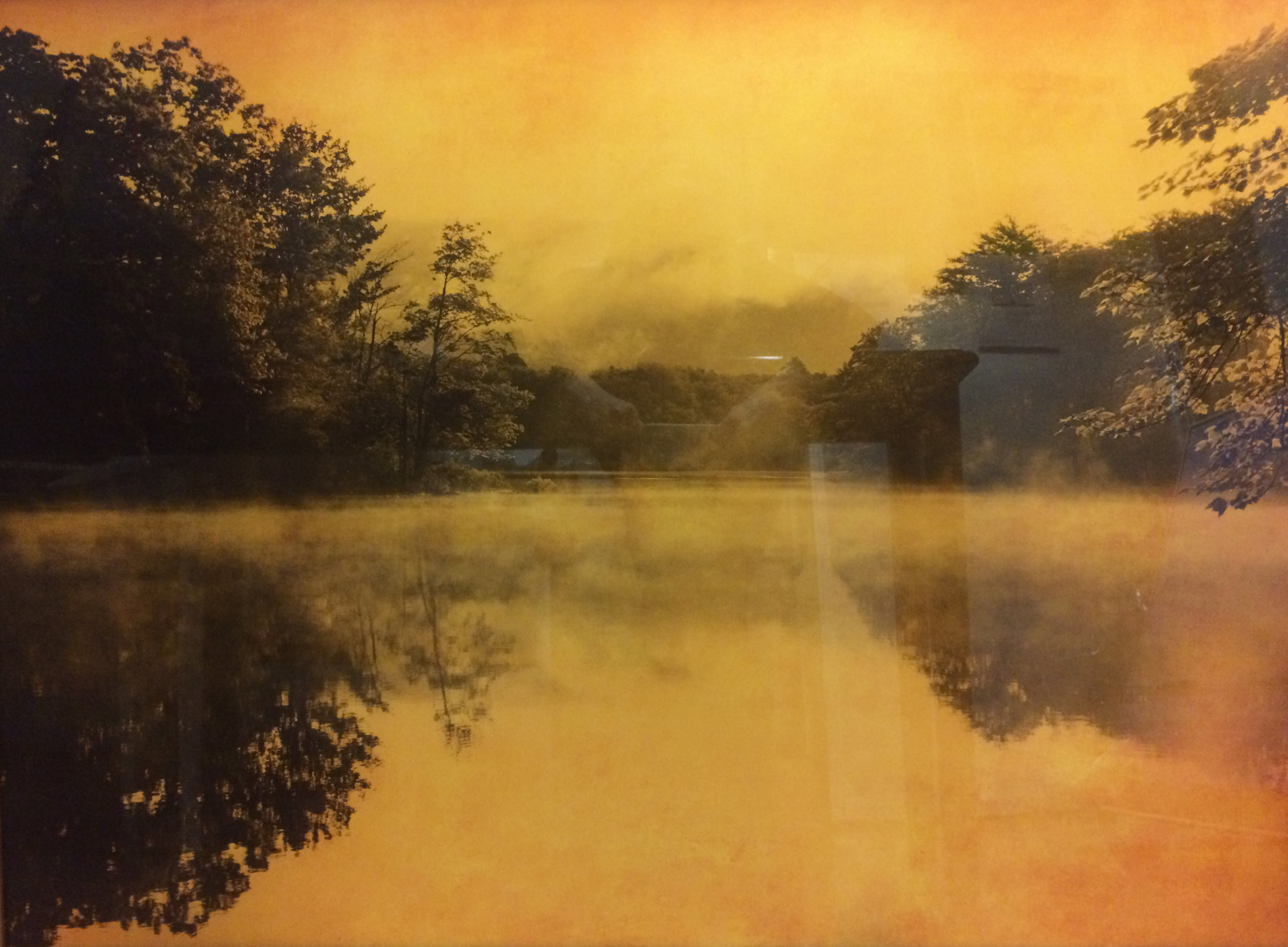 Joyce Tenneson,  Megunticook 6AM , 2011, Gold mixed media on plexiglass, 30h x 40w in. $8,750