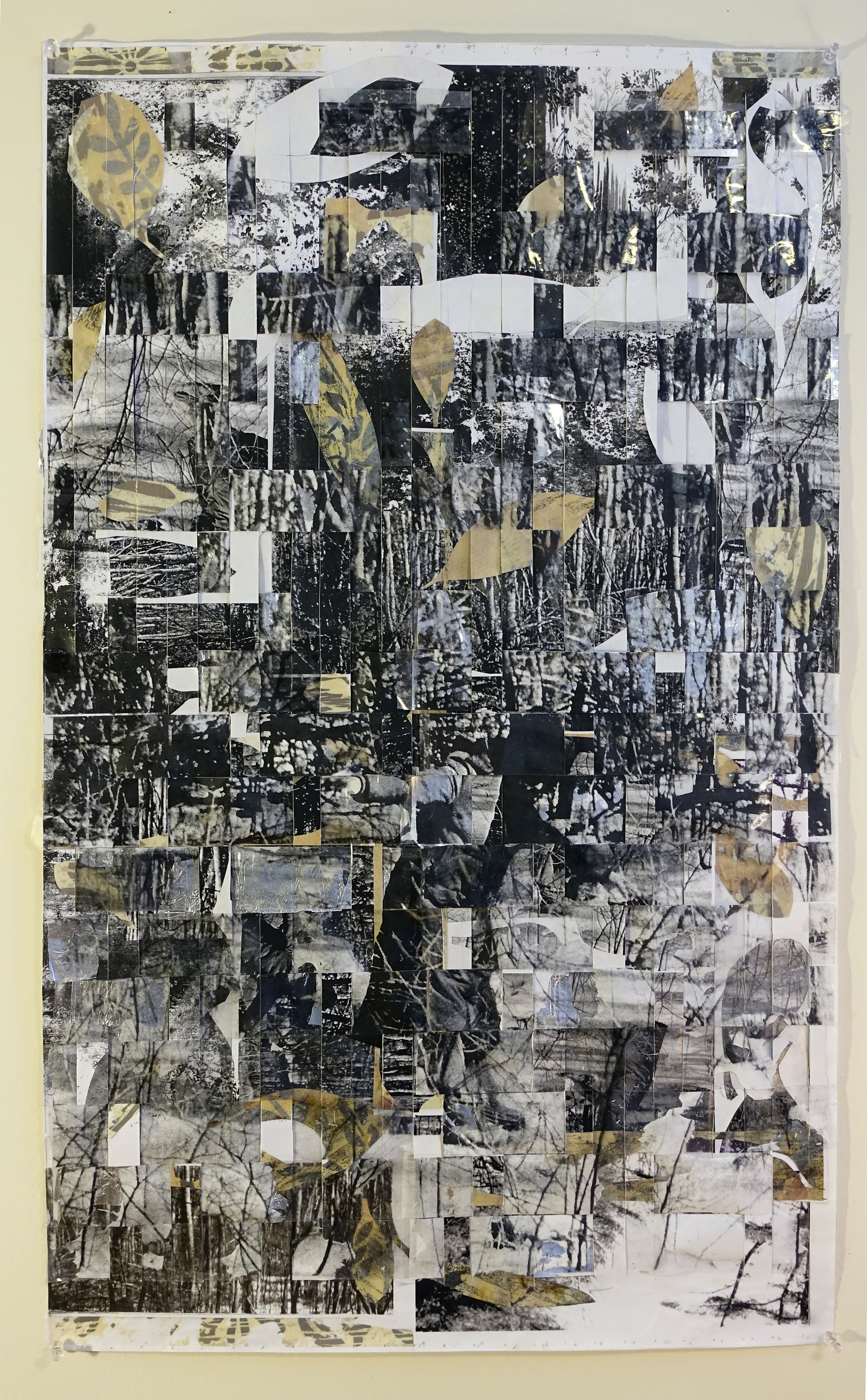Gail Skudera,  Winter Woods , 2015, woven paper, vinyl and foil, 32 x 19 inches