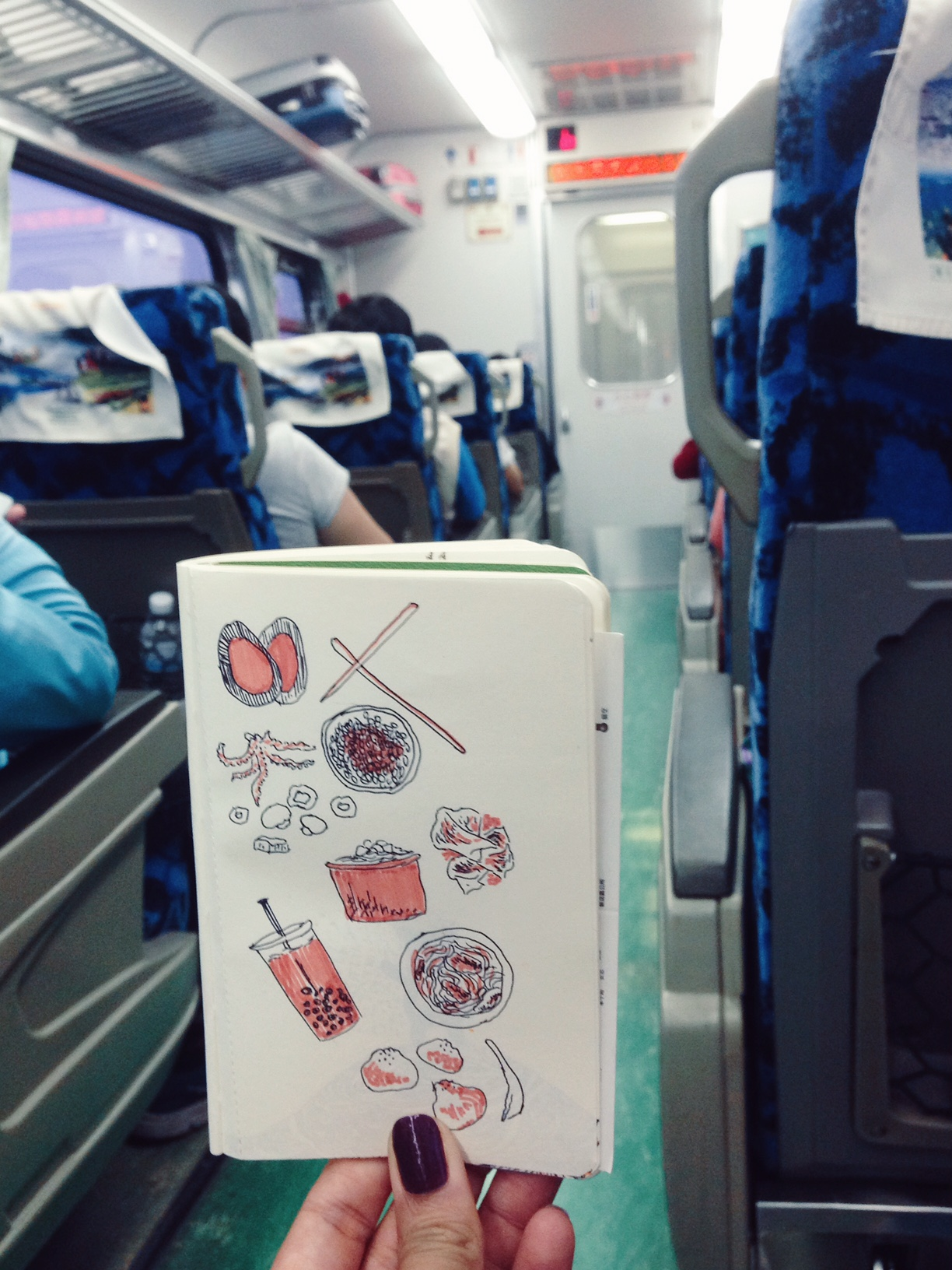Eating on a train in Taiwan.