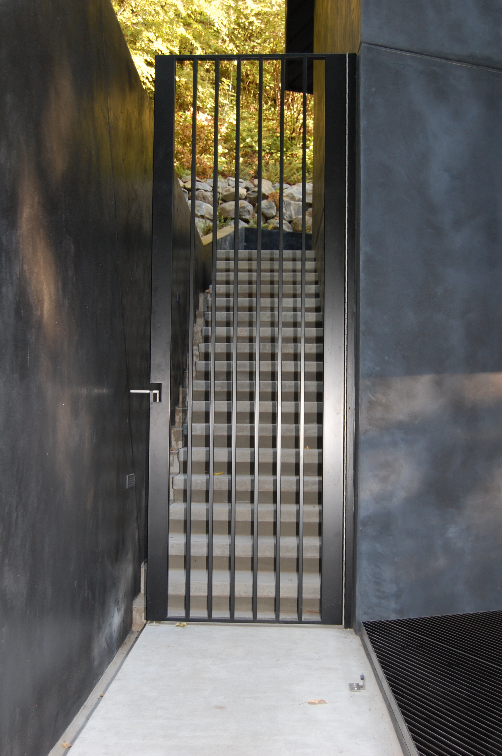 Painted Gate with custom built cane bolt integrated into the handle.  Designed by Skylab Architecture