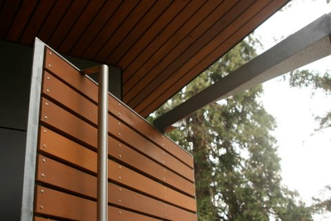 Galvanized steel gate with offset pivot hinge. Handle is stainless steel.  Designed by Eggleston Farkas Architecture