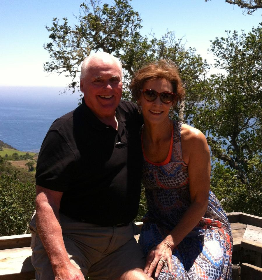 Pete and Nancy pause for a moment in Big Sur, They've been married 36 years.