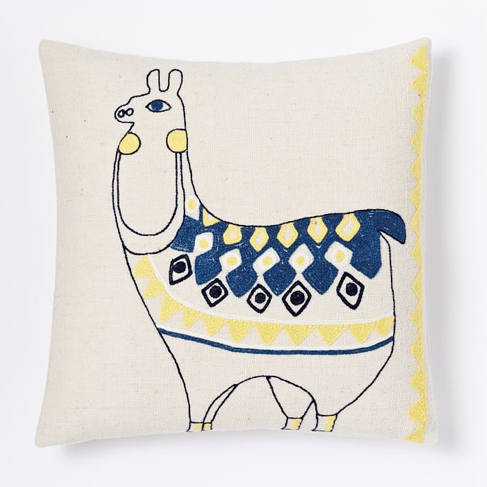 Embroidered Llama Pillow