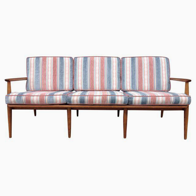 Red and Blue Stripe Sofa