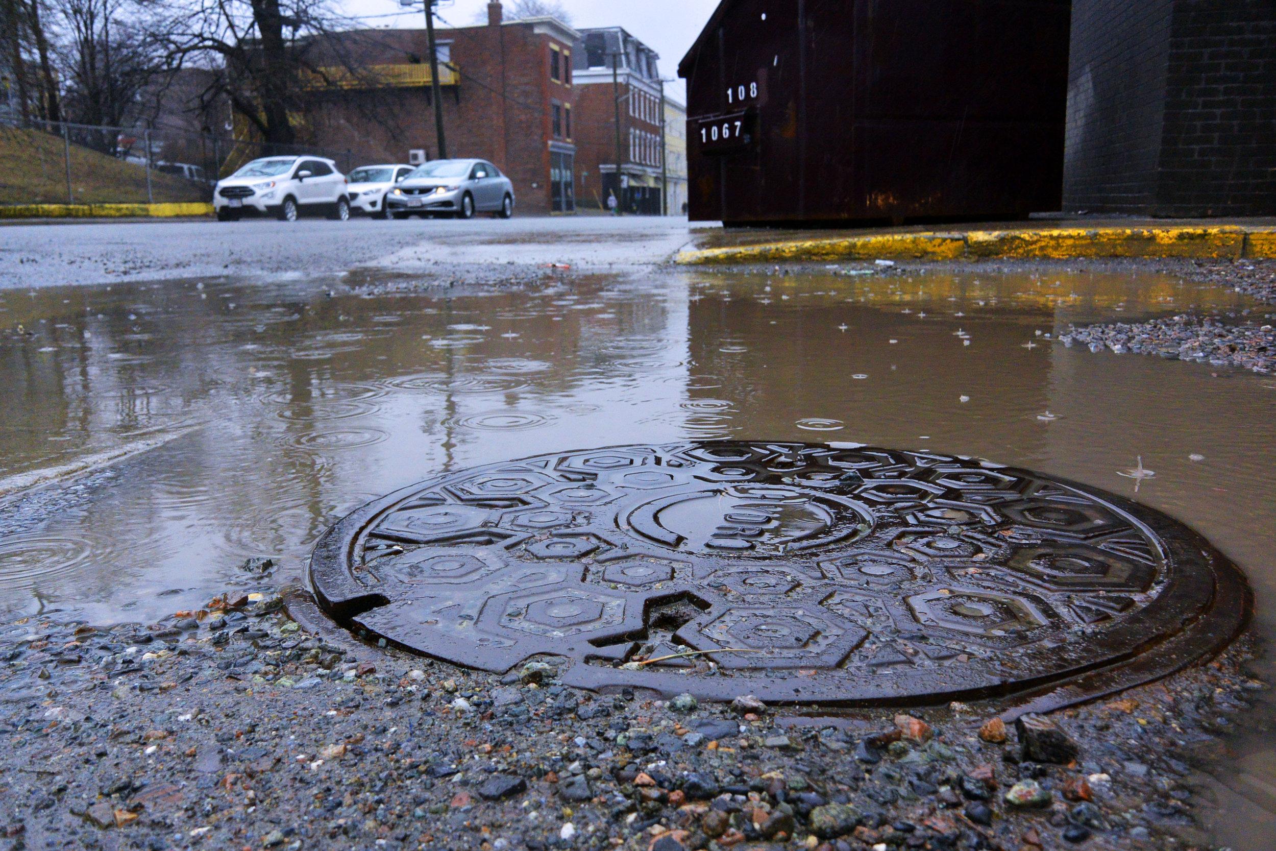 Storm water in a parking lot in Saint John