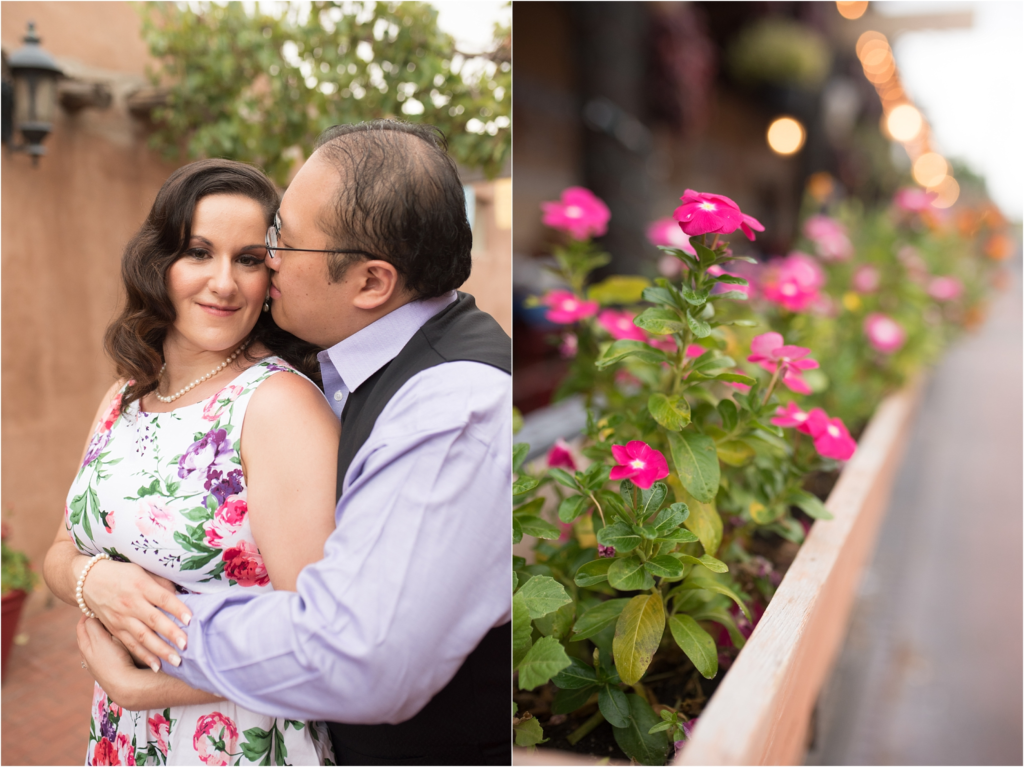 albuquerque wedding photographer, old town engagement session, floral engagement dress, lavender and rose hair and makeup, engagement hair and makeup, new mexico wedding photographer