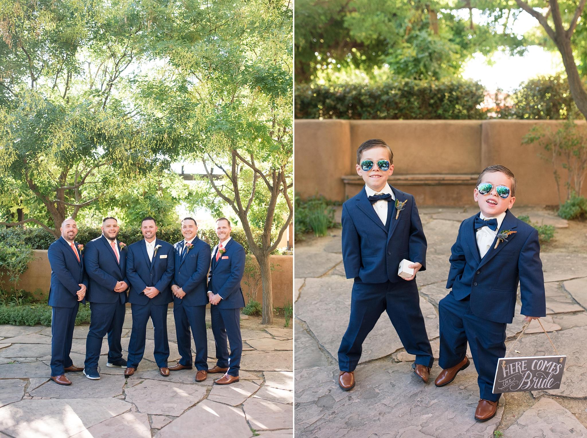 hotel albuquerque wedding photographer new mexico ann matthews bridal dress mens wearhouse cutmaster music dj courtyard coral navy blue
