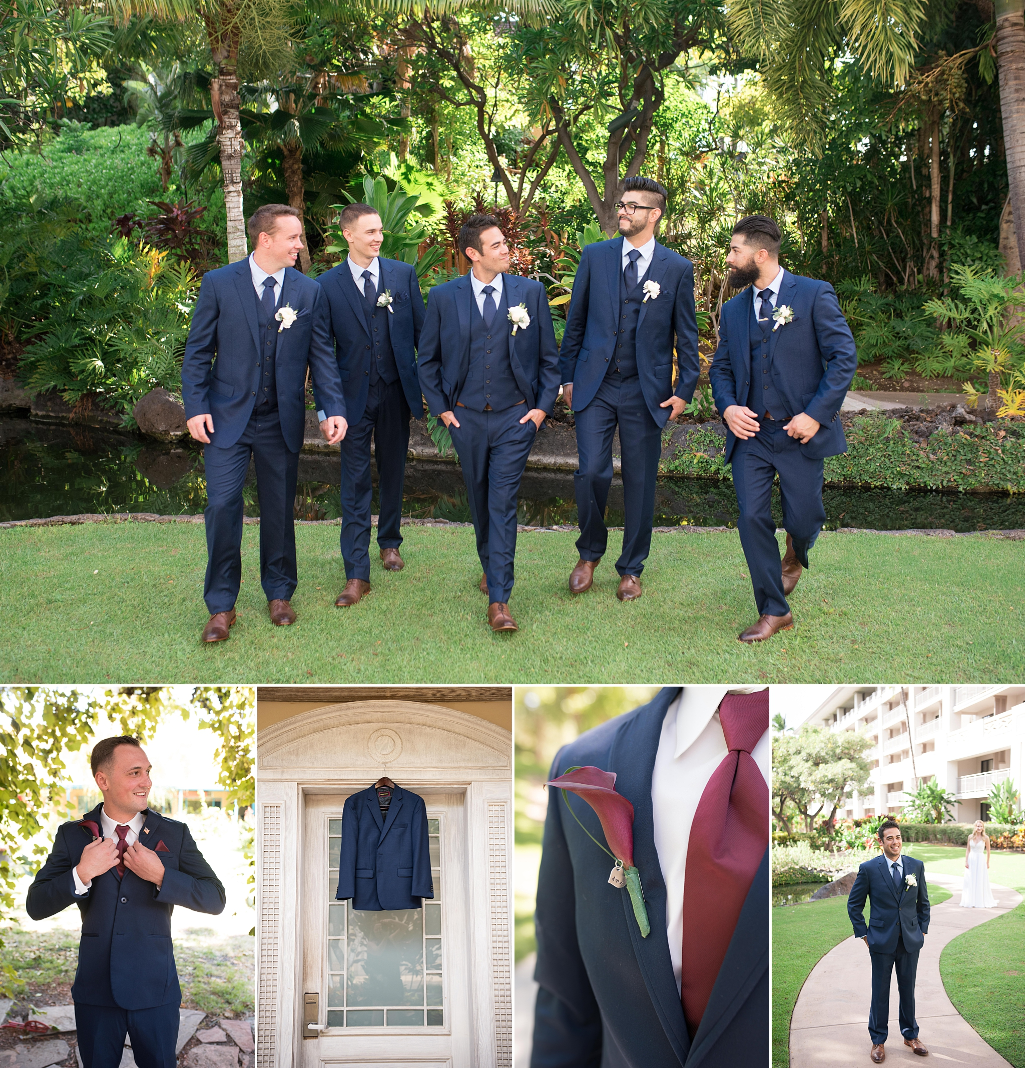 Men wear stylish suits on their wedding day from Suits Unlimited, located in Albuquerque, New Mexico. Trendy, luxe, and timeless mens attire in blue suits in Albuquerque New Mexico for rooftop wedding at Hotel Parq Central, and in Kona, Hawaii at Fairmont Orchid.