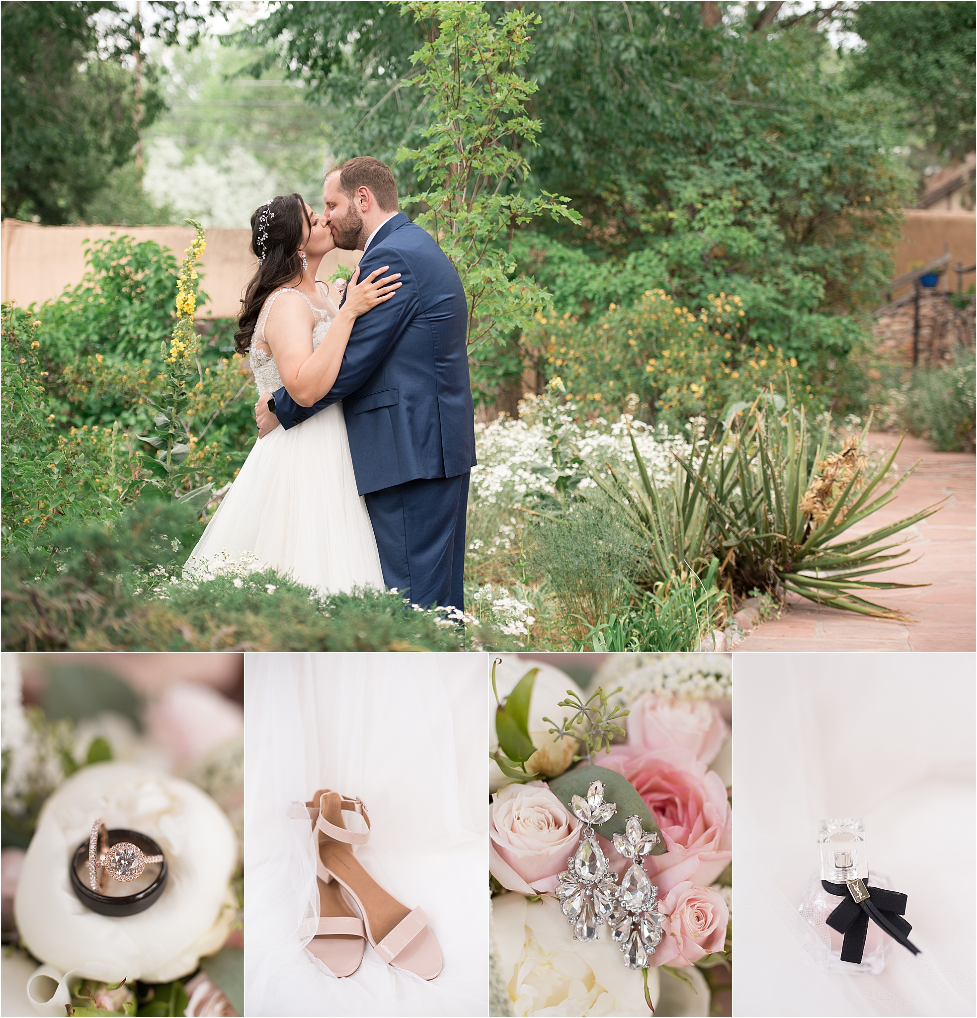 santa fe inn of the turquoise bear wedding photographer new mexico kayla kitts intimate blush dessert