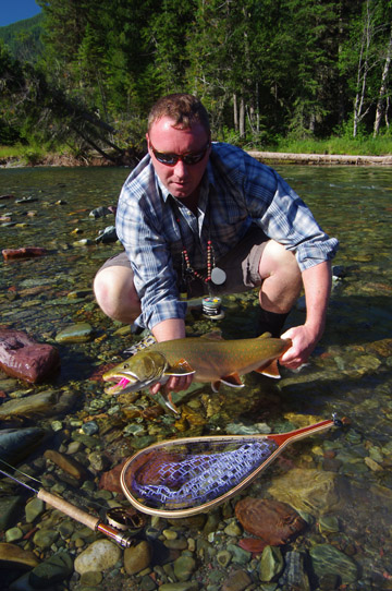 A Wigwam River Bull caught in crystal clear waters