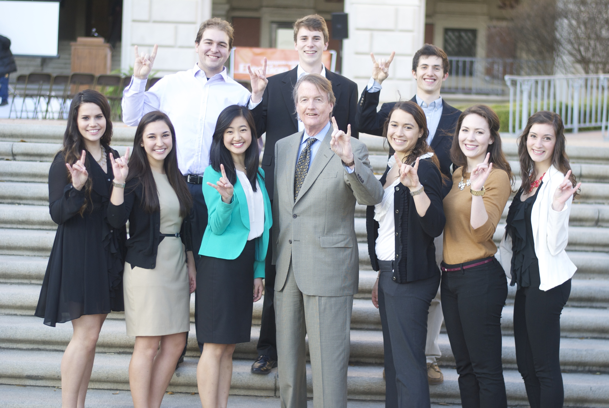 SCMSO Officers and Chairs with UT president Bill Powers. 2013-2014