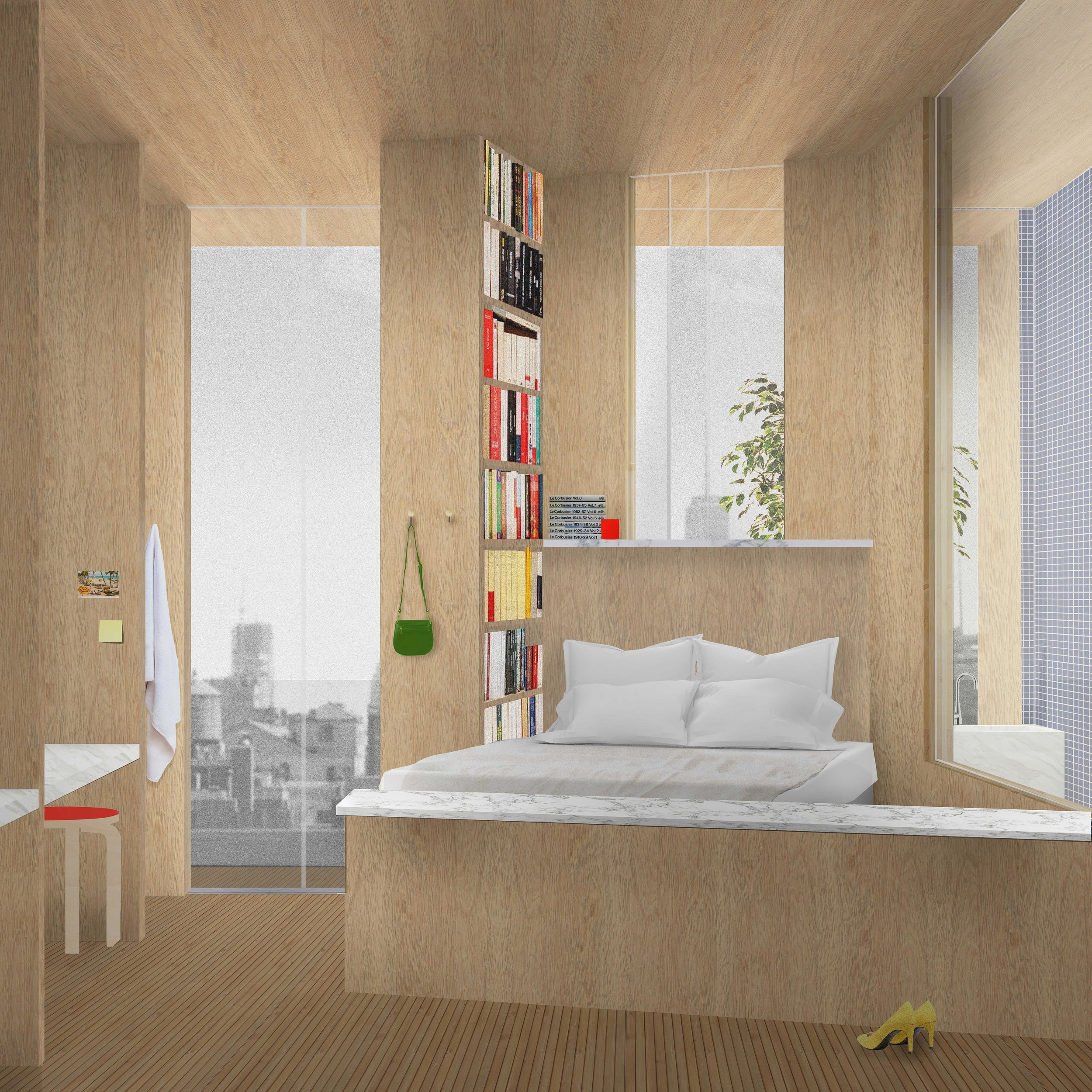 The Young Family utilizes a large bed for sleep, play and conversation. View of lofted space and swing for a young child.