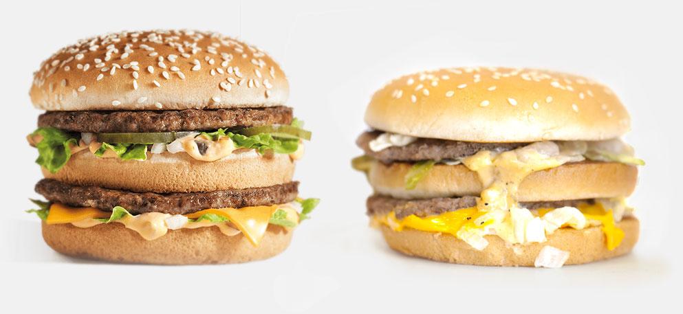 Left: McDonald's Big Mac (marketing photo); Right: McDonald's Bic Mac (as served).