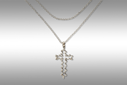 Cross gray gold necklace 18 ct. with diamonds