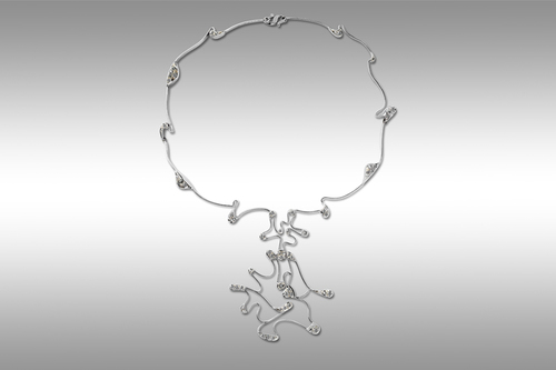 Fantasia gray gold necklace 18ct with diamonds