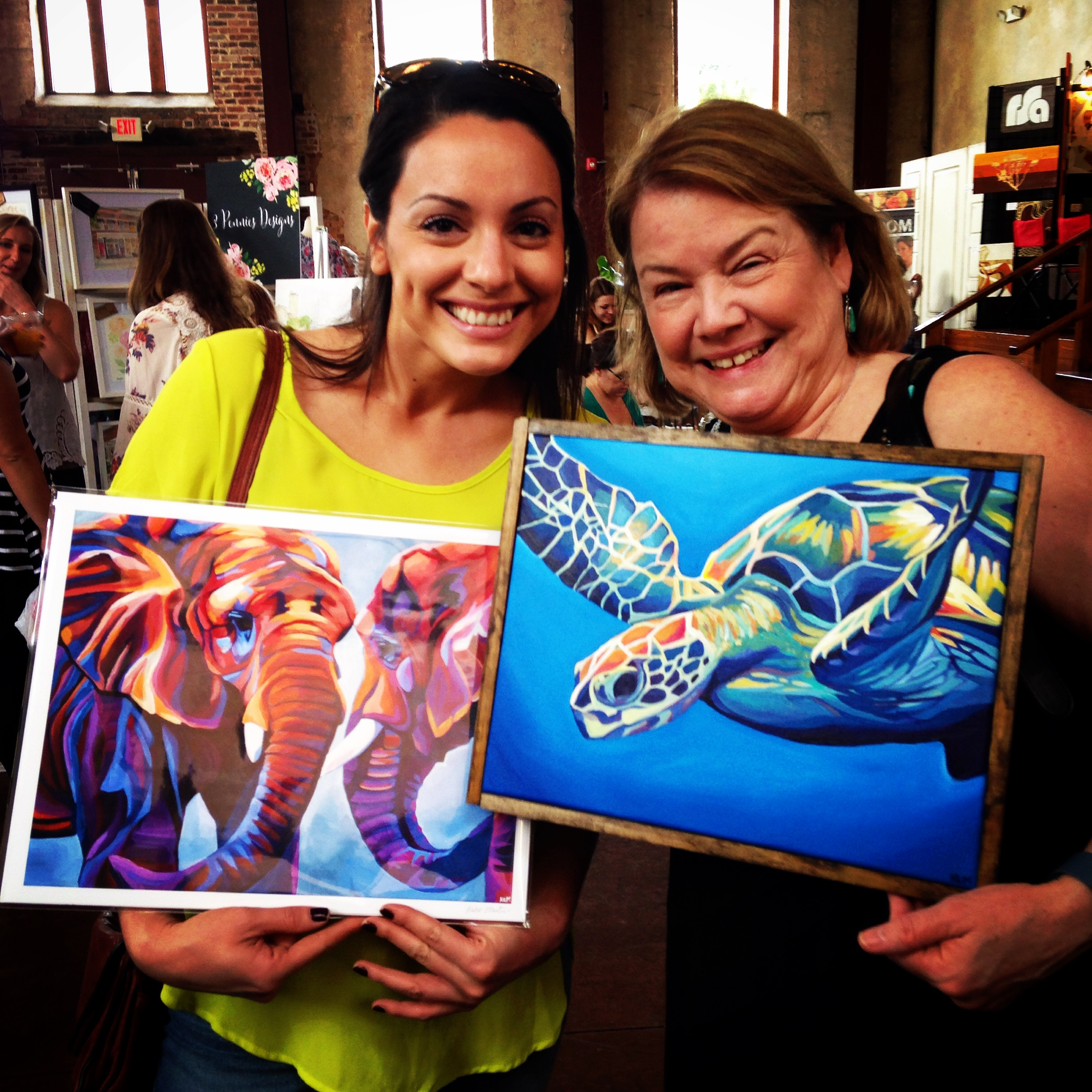 """Happy Katie Martin Art customers at the """"Made in NC"""" show, 2016"""