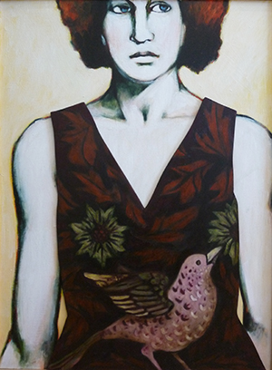 """Maureen Newton, Chick #6, 2009, 24"""" x 18"""", oil on panel (with removable dress)"""