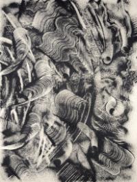 Robert Scott, The Falling, 2008, copper slag and Rhoplex (acrylic) on canvas, 97' X 73'
