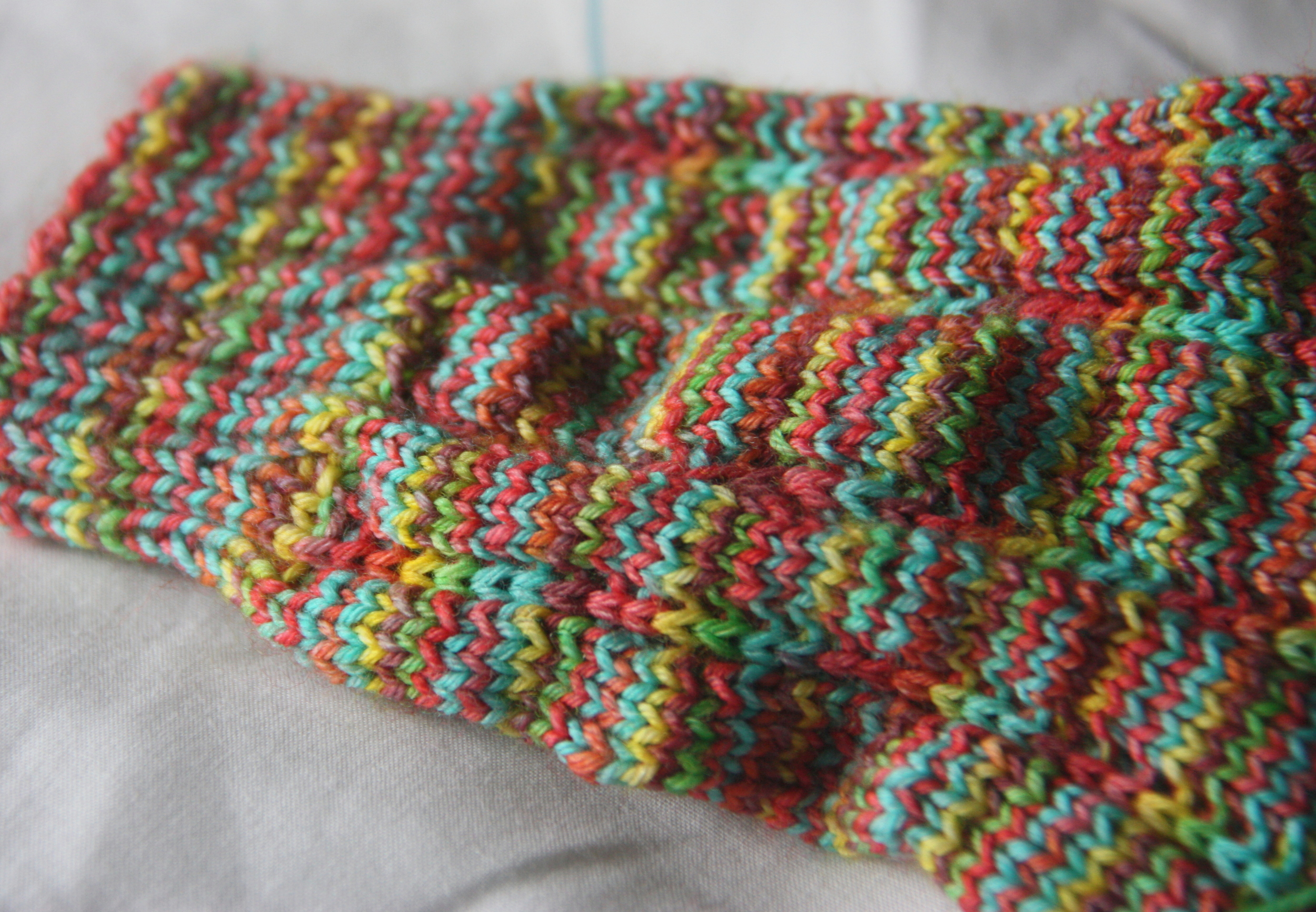 'Jeck' Sock pattern using Candy Skein Yummy Fingering in the Rainbow Fruit Chews colourway