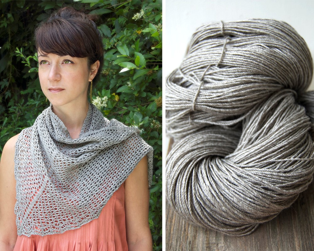 Veil of Leithen         shawl by Renee Callahan,       EastLondonKnit        in      Kettle Yarn Co.       BEYUL       , colourway  'yurt'