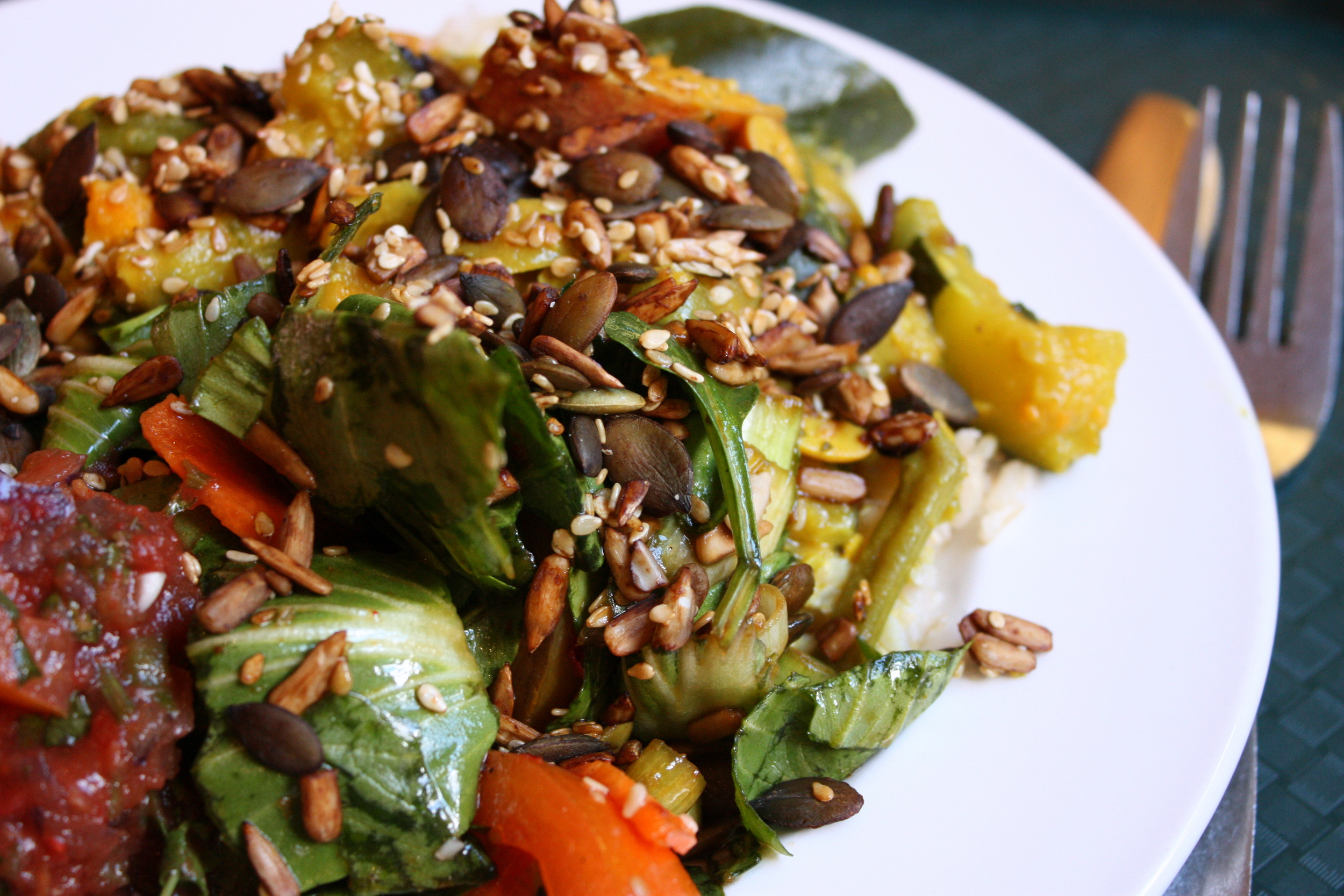 vegan food at the Laines