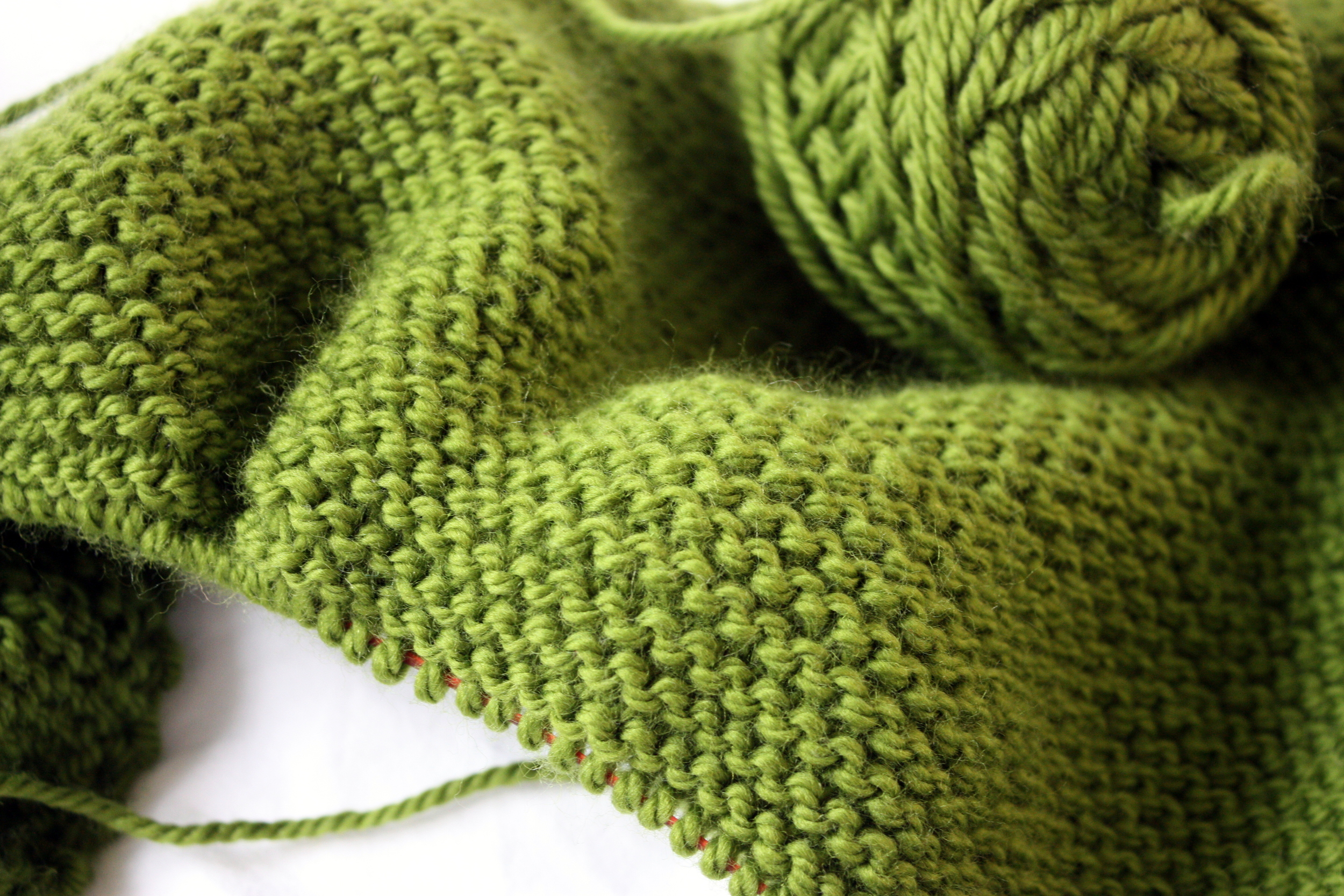 green garter stitch work in progress