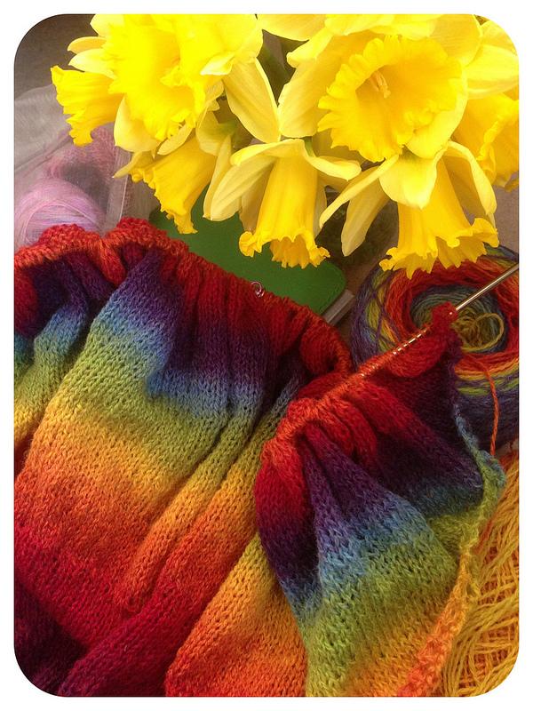 knitting on the needles