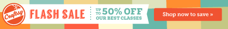 Get better at what you love to do during Craftsy's FLASH sale! This weekend only, get up to 50% off Craftsy's best online classes. Plus, enjoy hours of up-close instruction from expert instructors, without ever leaving your home! Sale ends Sunday!