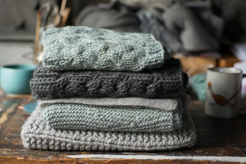 piles of knits at maddermade