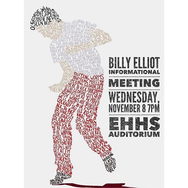 An informational meeting will be held tomorrow, Wednesday, November 8 at 7pm in the auditorium for this year's high school musical, Billy Elliot. All students who are interested in auditioning, and their parents, are encouraged to attend this meeting. Thank you!