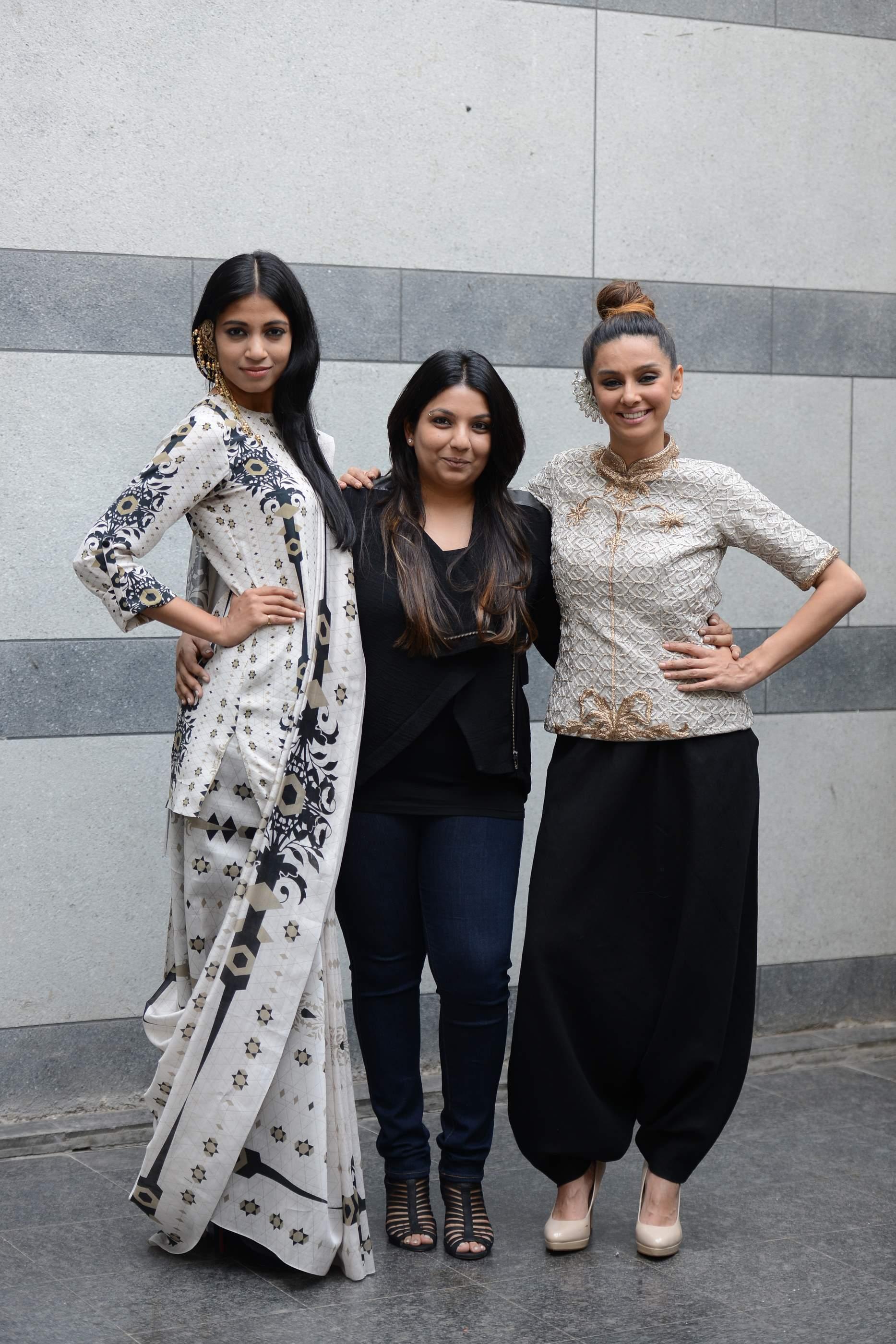 """Shibani Dandekar and Bhagyashree Raut dressed in """"Lady Sahara"""" with designer Payal Singhal"""