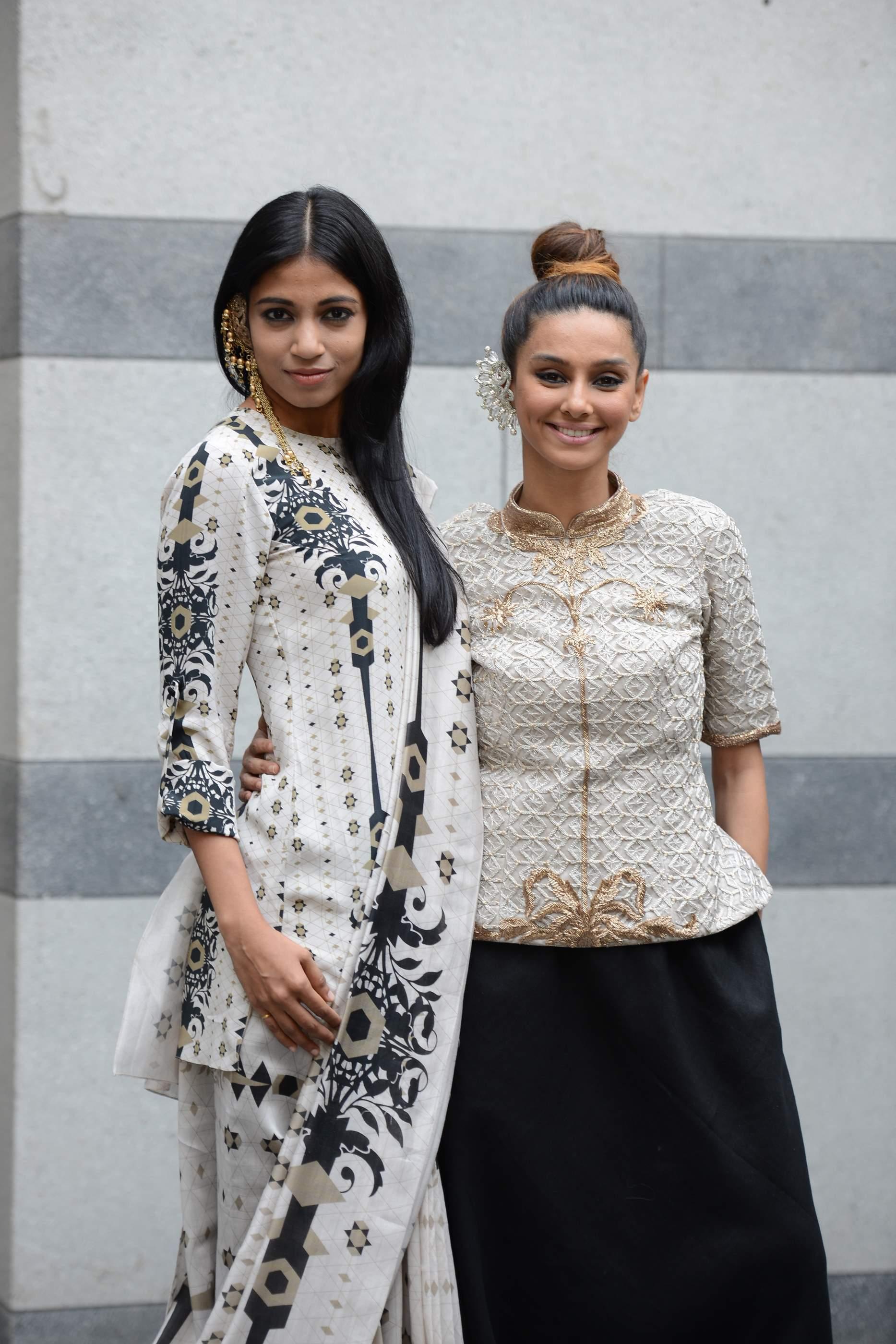 Shibani Dandekar and Bhagyashree Raut dressed in Lady Sahara by Payal Singhal 2