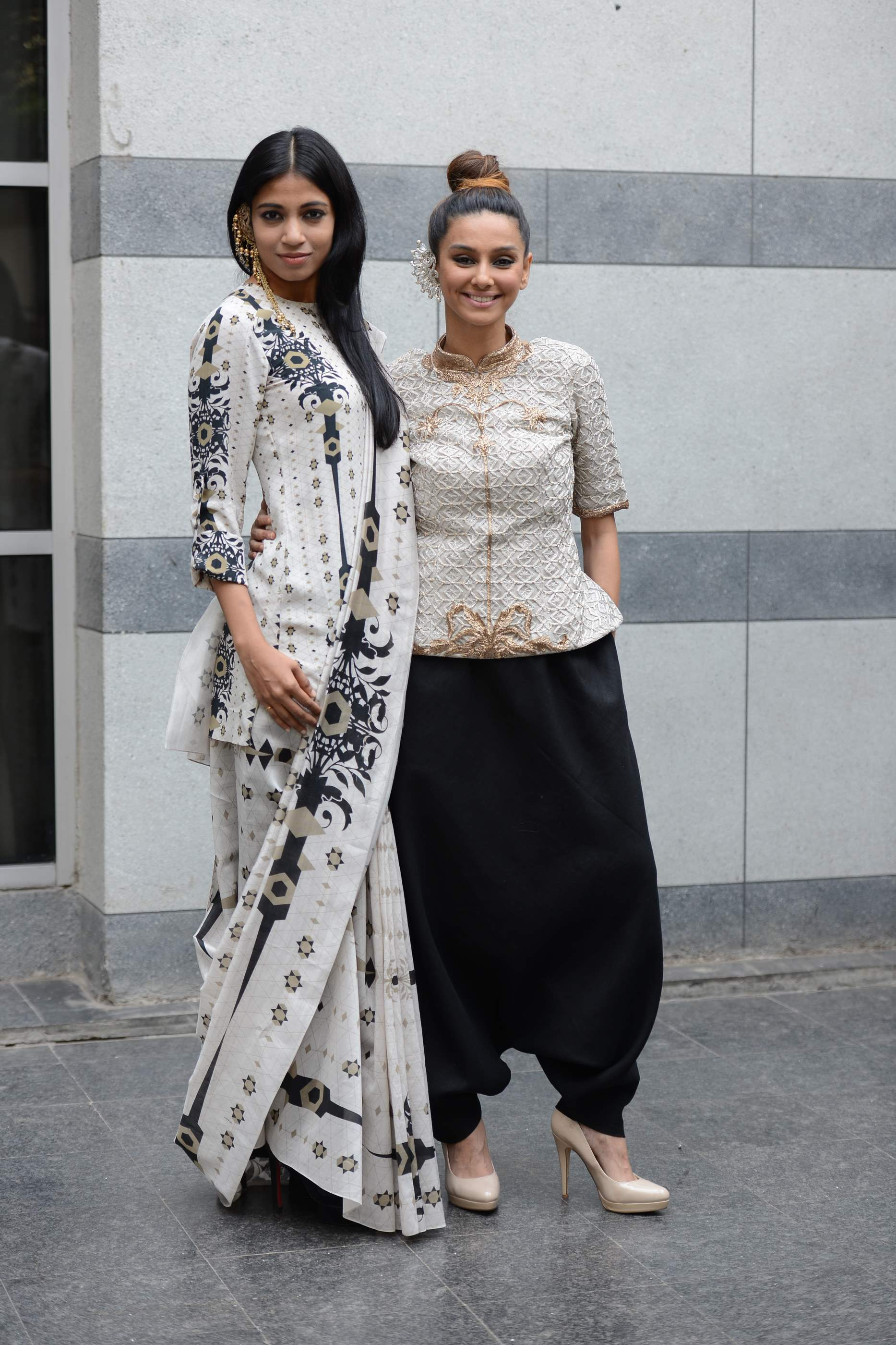 Shibani Dandekar and Bhagyashree Raut dressed in Lady Sahara by Payal Singhal