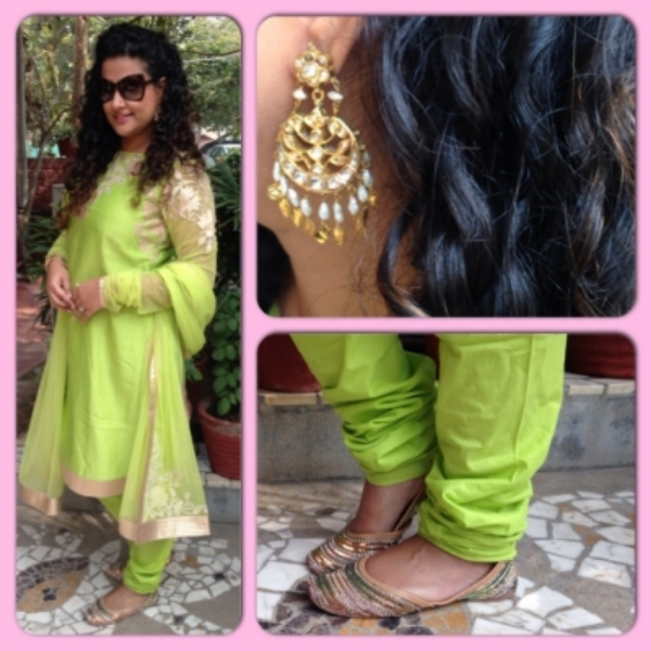 Suit: Rohit Bal; Sunglasses: Tom Ford; Earrings: Hazoorilal borrowed from Mom;  Juttis : Off the street in Amritsar