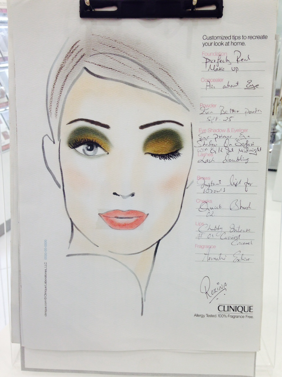 Clinique Make-up Face Chart