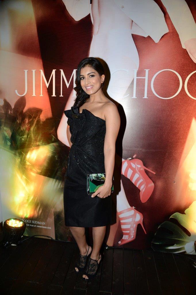 Pallavi Sharda dressed in Giorgio Armani and carrying Jimmy Choo Cocktail Candy wearing Jimmy Choo Mayleen