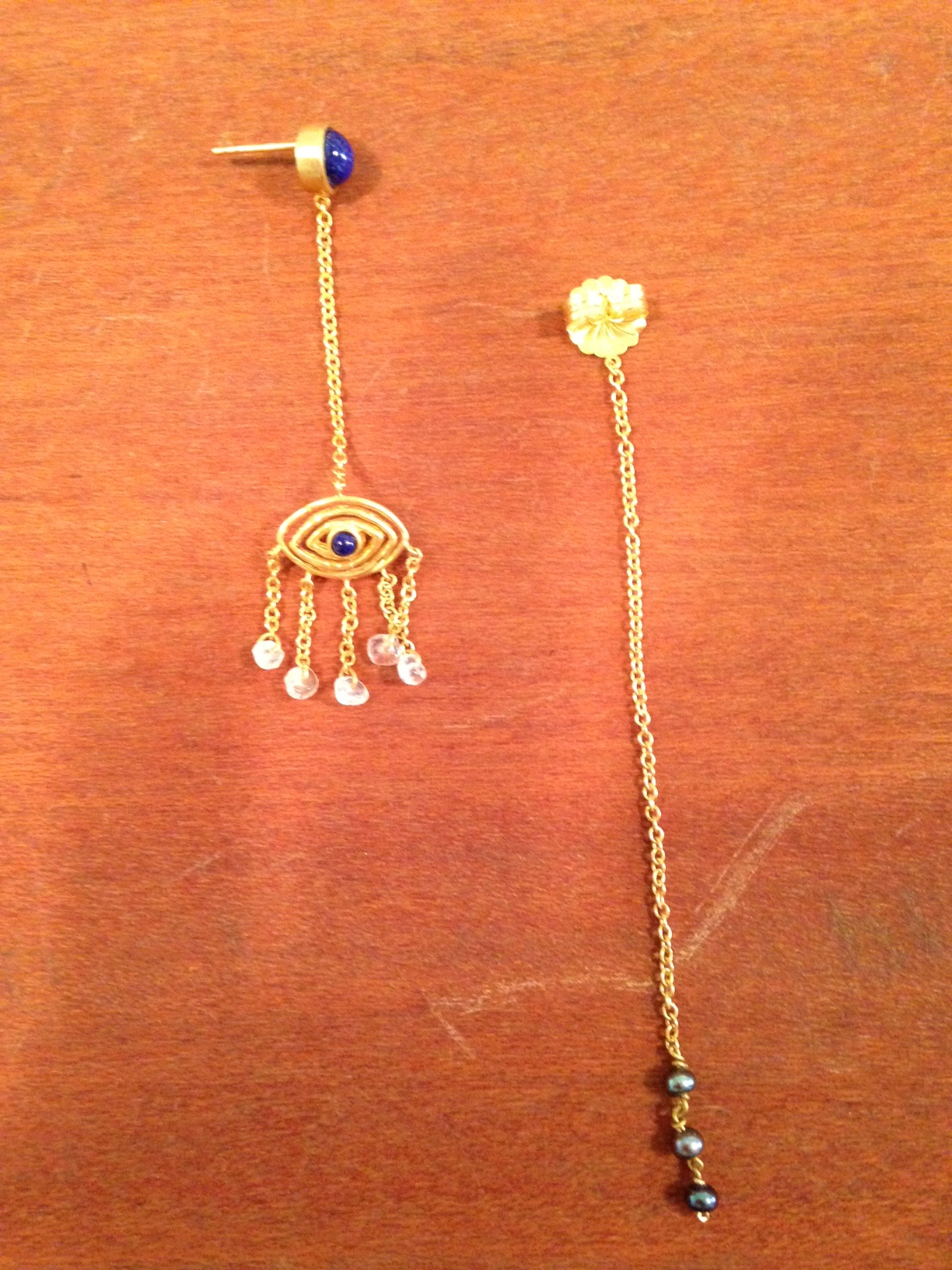 Earrings with long back closure