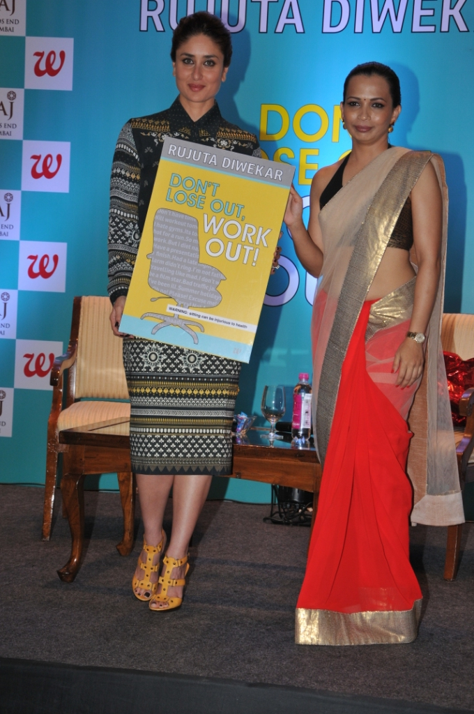 KAREENA KAPOOR KHAN LAUNCHES INDIA'S LEADING FITNESS EXPERT RUJUTA DIWEKAR'S BOOK 'DON'T LOSE OUT, WORK OUT'.JPG