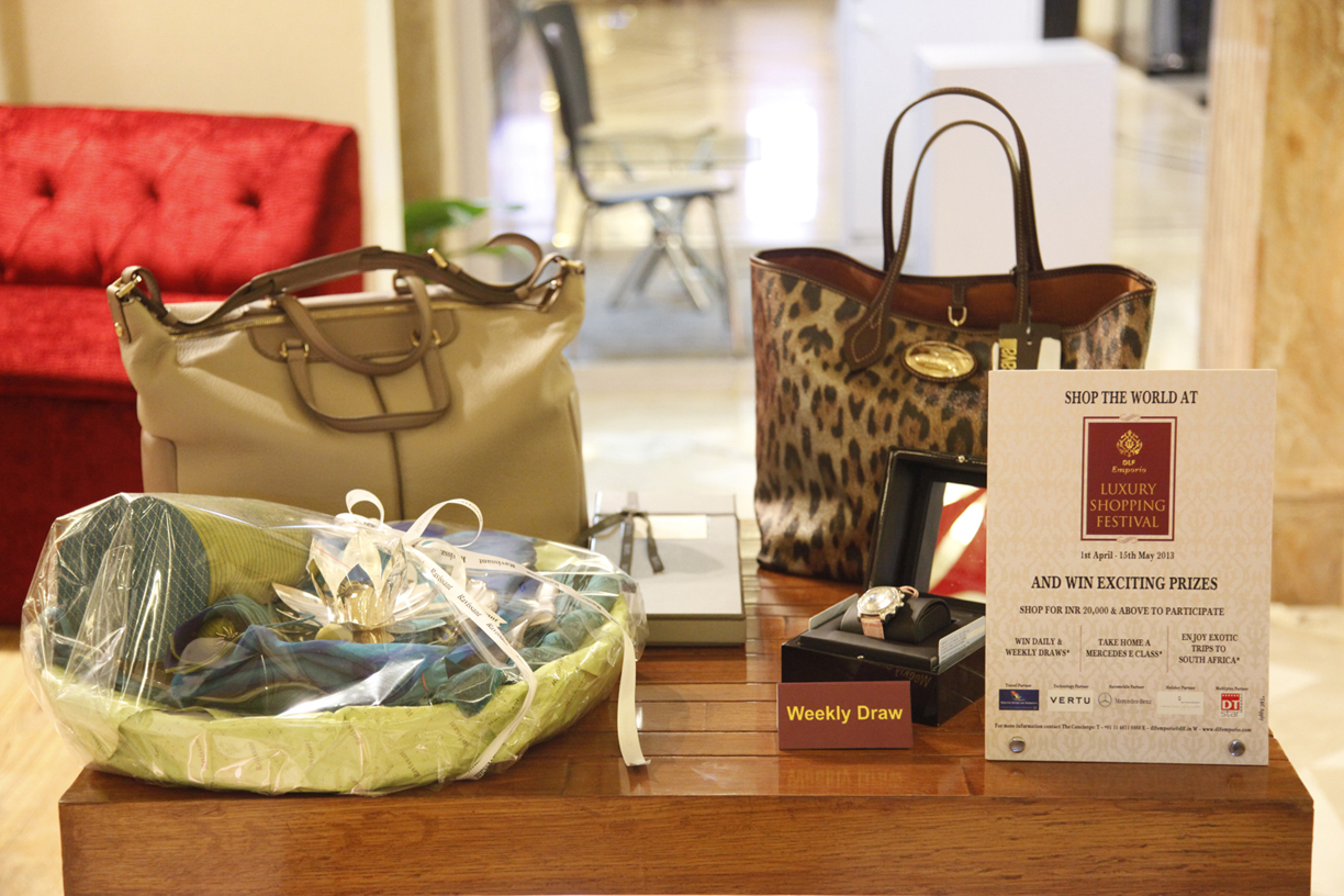 DLF Emporio - Prizes of the weekly draw at the Luxury Shopping Festival '13.JPG