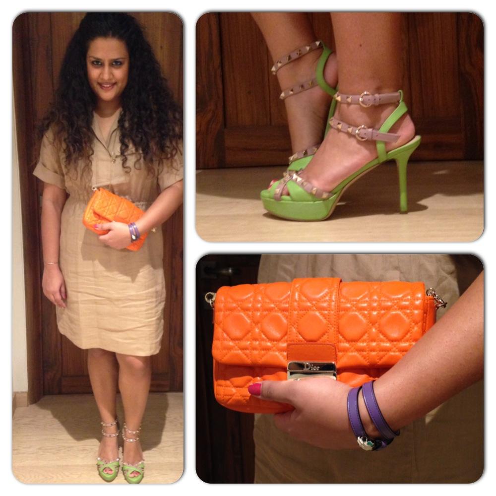 Dress: Burberry; Shoes: Valentino; Bag: Dior; Bracelet: Bvlgari