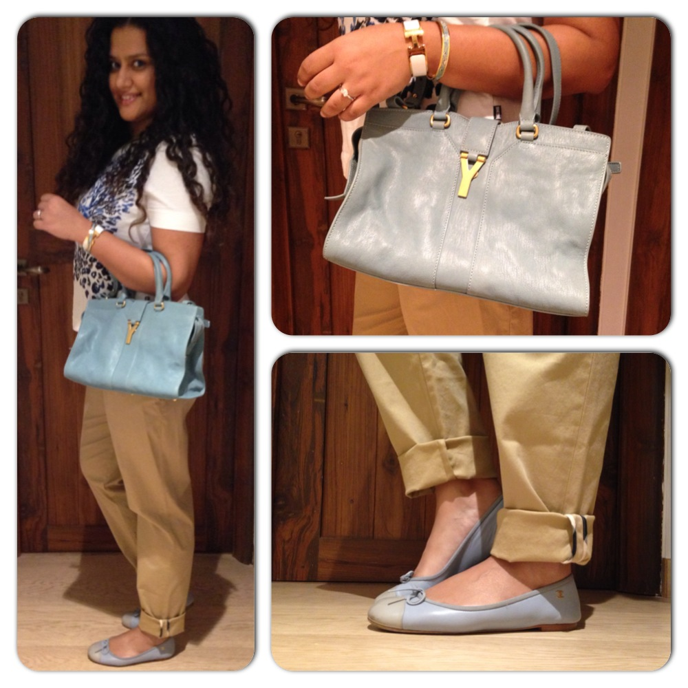 T-shirt: Just Cavalli, Bag: YSL, Bracelets: Hermes; Shoes: Chanel; Trousers: Burberry