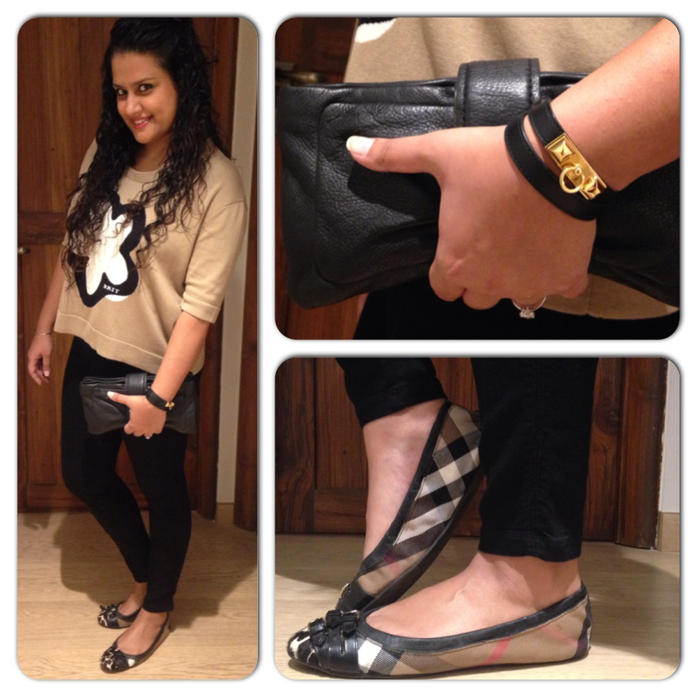 Top & Shoes: Burberry; Jeans: Gold Sign; Bracelet: Hermes; Bag: Marc by Marc Jacobs