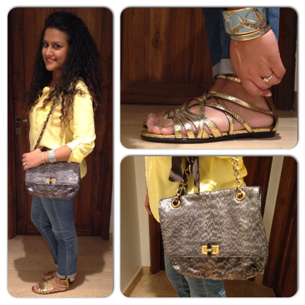 Shirt: Superdry, Sandals: Bottega Veneta; Bag: Lanvin; Bracelets: Hermes