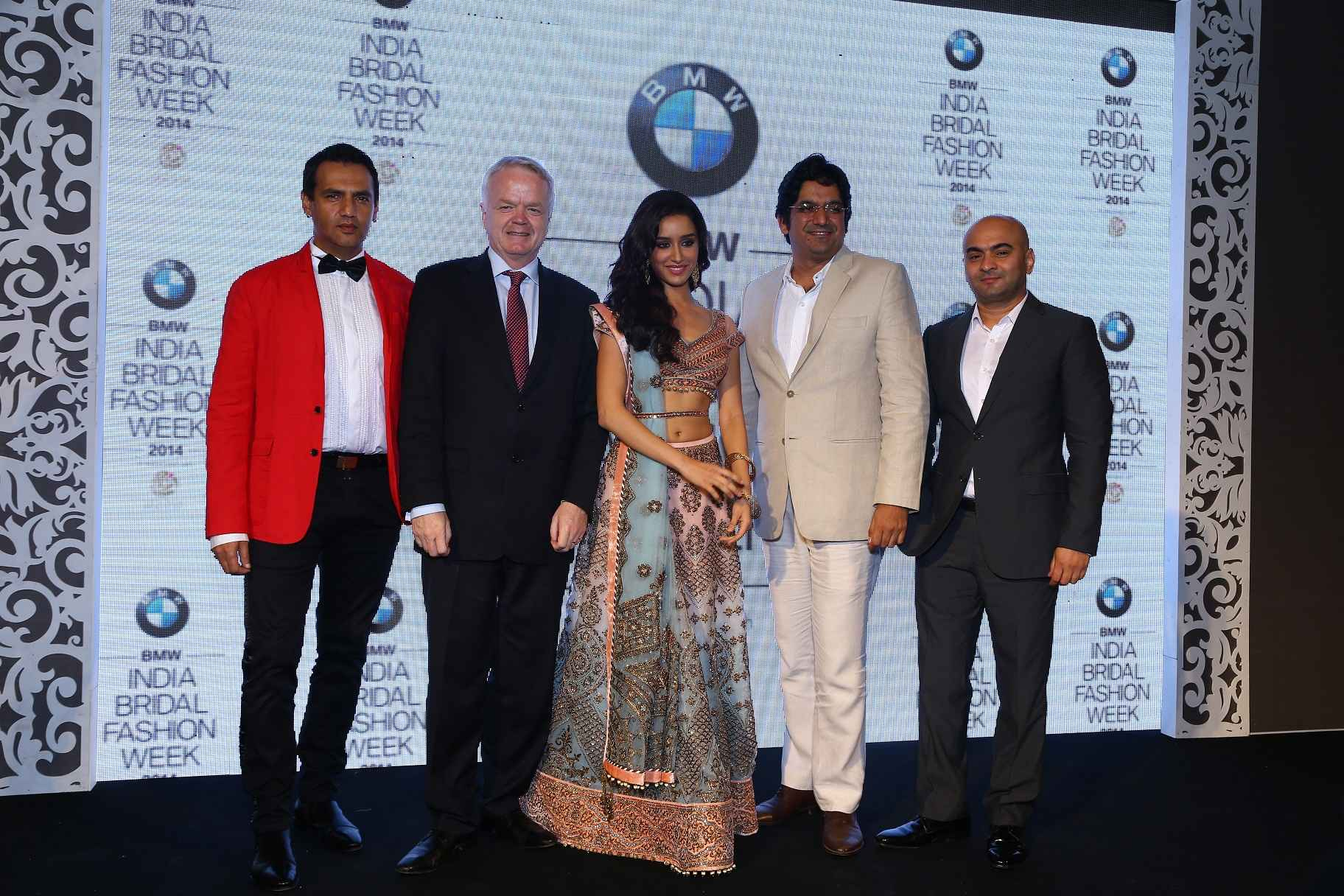 Marc Robinson, Philipp Von Sahr, President BMW Group, Shraddha Kapoor, Vipin Sharma,Director Jewellery World Gold Council, Vijay Singh Founder Fashion One Int seen at the press con of BMW IBFW in association with AZVA