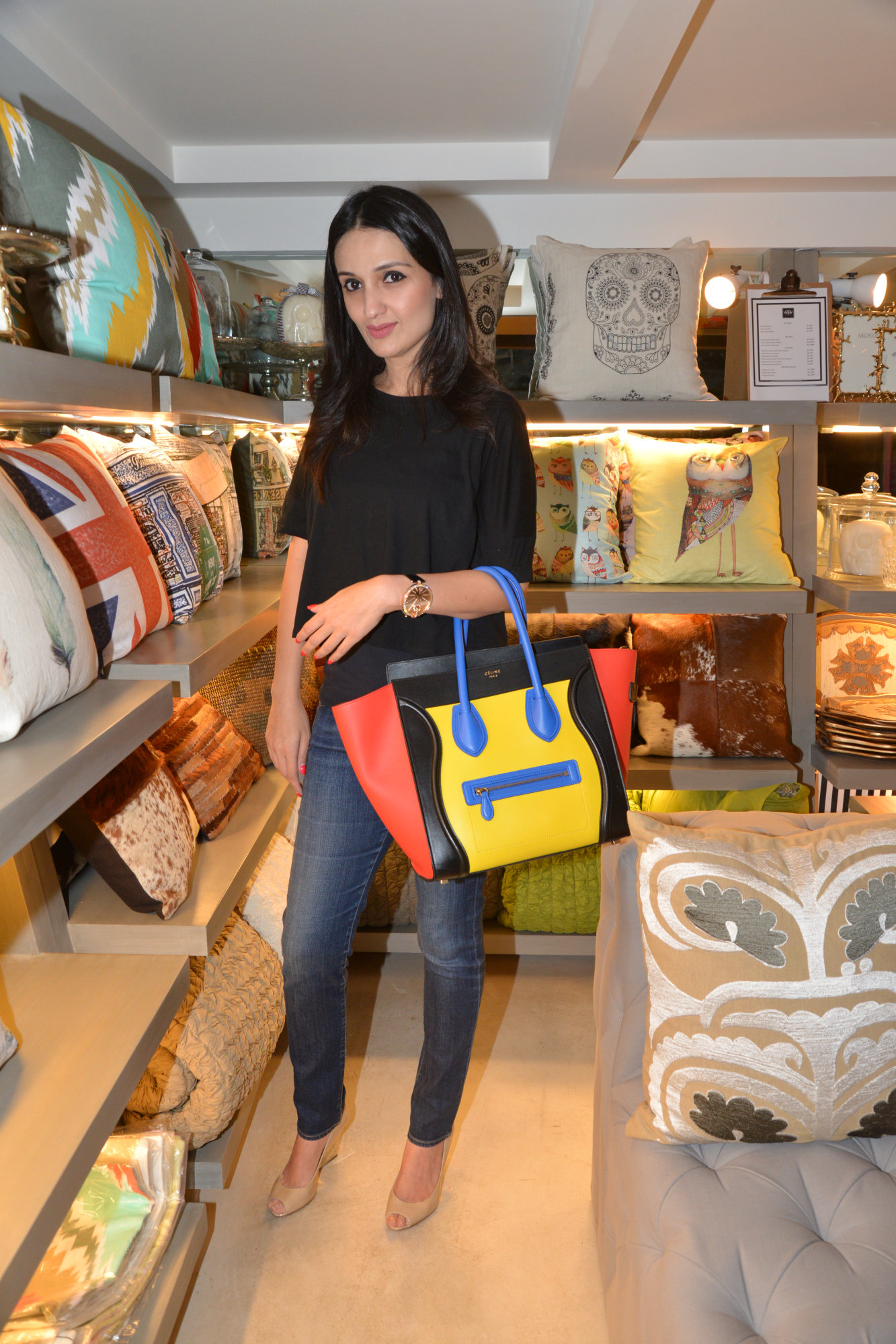 Anu Diwan carrying a Celine tote
