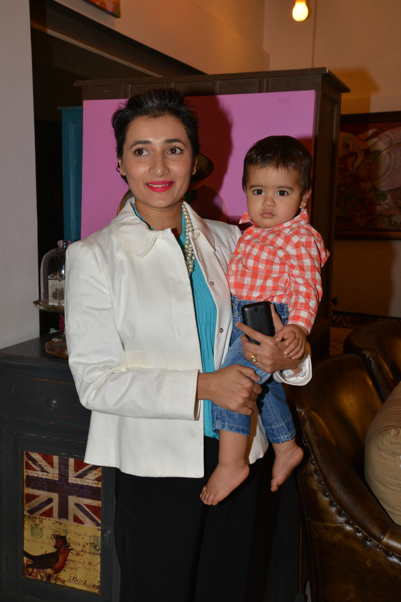 Schauna Chauhan with her son