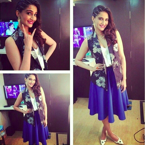 Sonam Kapoor in a Payal Pratap jacket, Alexander Wang top, Asos skirt and Dolce & Gabbana shoes