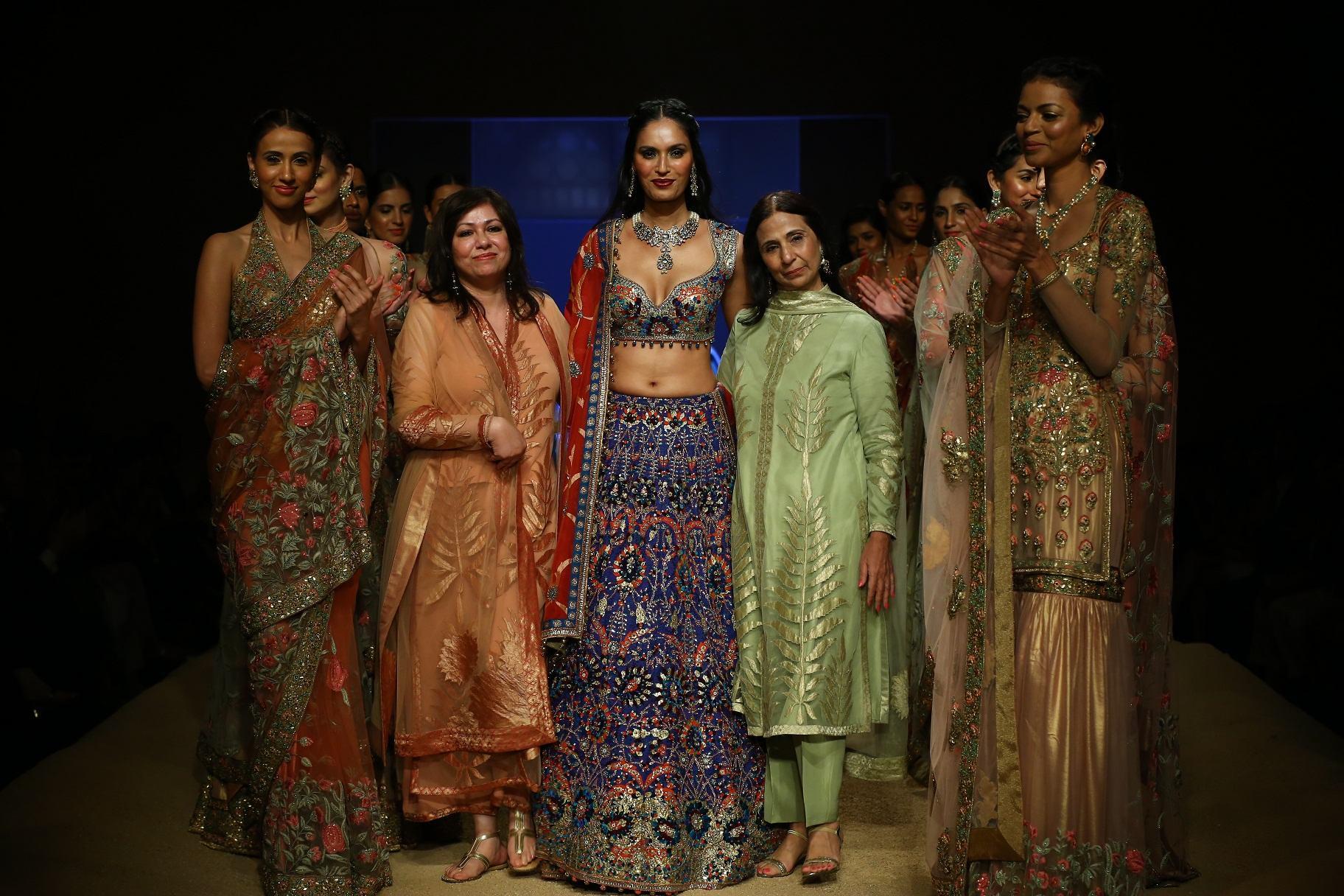 Ashima and Leena  with Ujjwala Raut at BMW India Bridal Fashion Week 2014 in association with AZVA at DLF Emporio.jpg