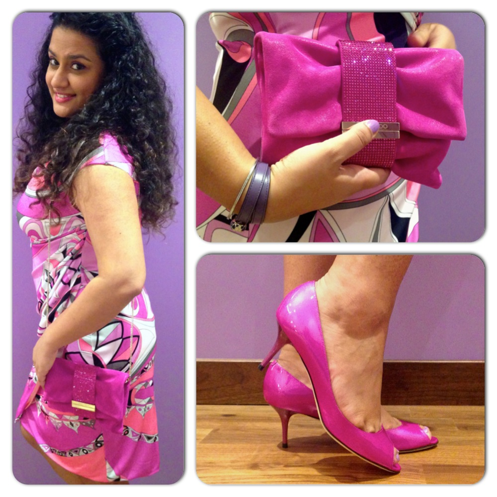 Chandra S Clutch & Isabel shoes from Jimmy Choo; Dress - Emilio Pucci; Leather Bracelet - Bvlgari